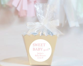 12 Baby Shower Boxes - Baby Shower Favors - Custom Shower Favors - Personalized Shower Favors - Gold Favor Boxes - Candy Favor Boxes