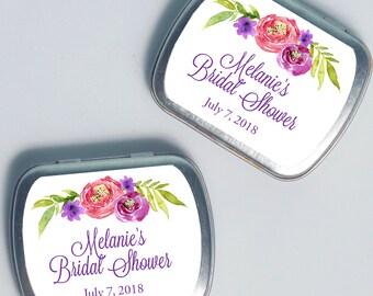 15 Personalized Favor Tins - Custom Mint Tins - Bridal Shower Favors - Floral Mint Tins - Metal Tins - Custom Shower Favors - 2.5 x 2