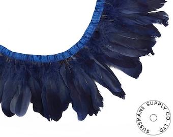 "Feather Trim - Goose Feather Satinette Fringe Trims - Navy Blue - 5""-7"" (1 yard)"