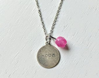 Breast Cancer Necklace. Hope Necklace. Silver Necklace. Survivor. Inspirational Necklace. Pink. Stainless steel. Nickel safe. Lead free.