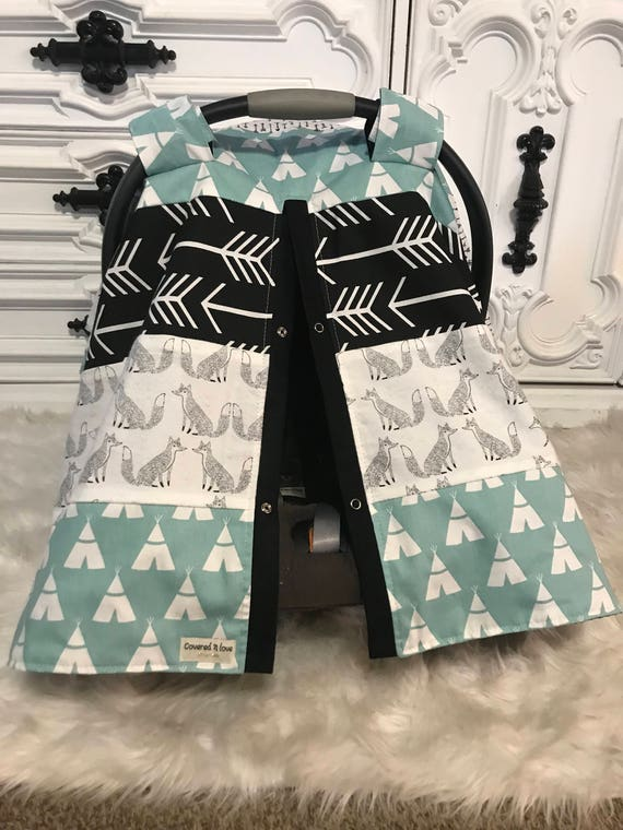 Car seat canopy , Fox , arrow , teepee , patchwork , woodland theme , nursing cover , car seat cover