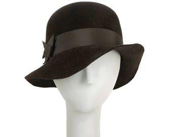 Brown Floppy Hat for Women, Felt Hat, Womens Fedora Hat, Winter Hat, Millinery Hat, Brown Hat, Ladies Hat, Church Hat, Wedding Hat