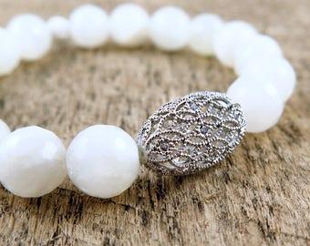 Moonstone Bracelet, White Beaded Bracelet, Gemstone Bracelet, Filigree Jewelry, White Bracelet, White Gemstone
