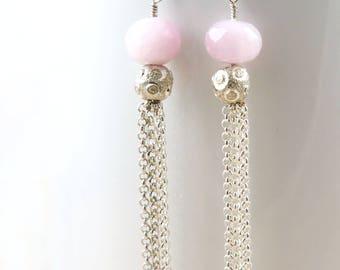 Fairytale Gift Pink Kunzite Earrings Beauty Gift Silver Tassel Earrings Gemstone Earrings Boho Luxe Gift for Her