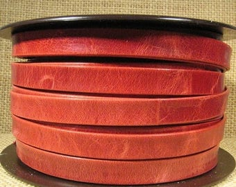 10mm Italian Leather - Red - Choose Your Length