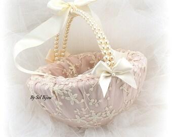 Flower Girl Basket, Ivory, Rose, Blush, Ivory Bows, Lace Basket, Elegant Wedding, Vintage Style, Pearl Handle, Round Basket, Gatsby