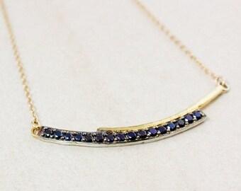 ON SALE Gold Black Spinel Bar Necklace – Bar Pendant