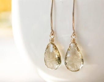 ON SALE Gold Champagne Citrine Gemstone Earrings - November Birthstone Earrings - 14K Gf