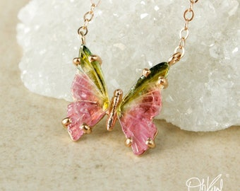 Lime Green & Bright Pink Tourmaline Butterfly Necklace - Butterfly Pendant - Watermelon Tourmaline