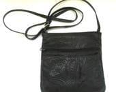 vintage handmade leather shoulder bag   ...   black cross body bag   ...   tooled leather