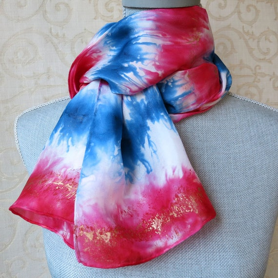 Fourth of July Handpainted Silk Scarf in Red, White and Blue
