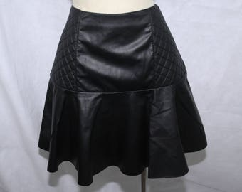 Women's Black Faux Leather Circle Skirt, Flounce Ruffle, Size 12 Above Knee