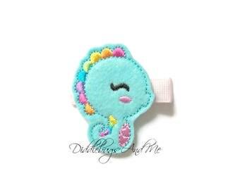 Aqua Seahorse Hair Clip, Beach Hair Clip,  Hair Clips For Summer, Toddler Hair Clips, Felt Hair Clips, Seahorse Barrette,