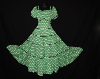 1940s party dress green polka dot fitted waist tiered full circle skirt skirt long gown medium