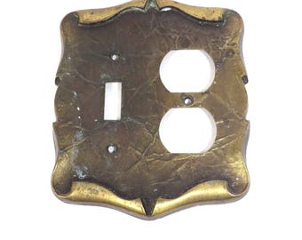 Antiqued Gold Amerock Medieval Style Switch Plate Vintage 1970s Carriage House Outlet Cover Hardware Industrial Salvage Home Decor