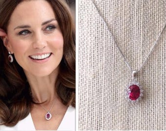 Kate Middleton Inspired Ruby Cubic Zirconia Sterling Silver Halo Necklace