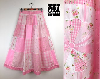 Cute Vintage 70s Pink & White Floral Quilted Patchwork Cotton Maxi Skirt