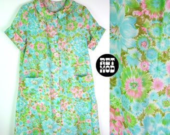 Comfy Vintage 60s Blue, Green & Pink Floral Cotton Housecoat Robe Pajamas