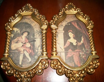 Pair Vintage Syroco  Framed  Romantic prints by Shirley Tatters-Field  Gold resin frames  Sale