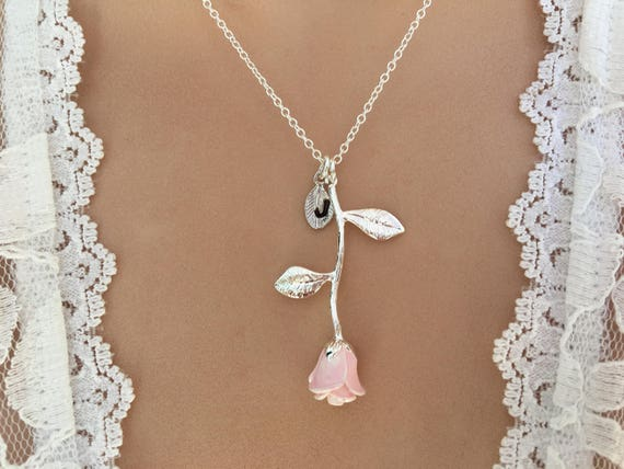 Original pink rose necklace pink rose pendant anniversary like this item audiocablefo light ideas