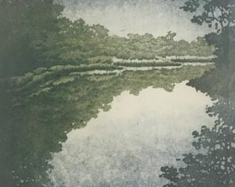 Woodblock Print Lake No. 2 Moku Hanga Japanese Woodblock Reduction Print limited edition landscape fine art print