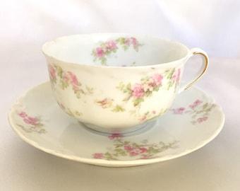 Antique Haviland Limoges France Floral Tea Cup and Saucer