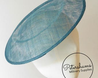 Extra Large 29cm Round Saucer / Plate Sinamay Fascinator Hat Base for Millinery - Teal