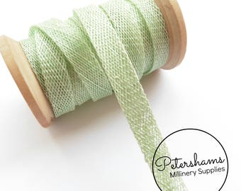 1cm Sinamay Bias Binding Tape Strip (1.6m/1.7yards) for Millinery & Hat Making - Mint Green