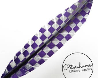 Checkerboard Pattern Imitation Goose Quill Feather for Millinery (Single Feather) 28-30cm - Purple