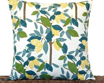 Lemons Pillow Cover Cushion Trees Floral French Country Summer Olive Green Teal Blue Yellow Brown Beige Decorative 18x18