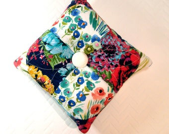 Pincushion- Modern Patchwork, My Garden Pincushion. Large, Double Sided, Emery core, Machine Quilted, Ready to Ship