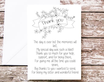 Sister Thank You Card To On My Wedding Poem