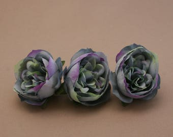 3 Small BLUE VIOLET Cabbage Peonies  - Artificial Flower Heads