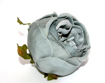 Overcast Gray Cabbage Rose -  Artificial Flowers, Silk Flowers