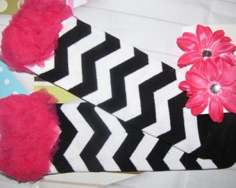 new Girls girl child toddler leg warmers and lily flower clips accessory set chevron birthday black hot pink FREE shipping