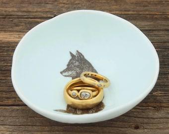 Wolf Woodgrain Dish by SKT Ceramics- Hand built porcelain dish, jewelry dish, olive oil dish, soy sauce bowl, tapas dish by SKT Ceramics