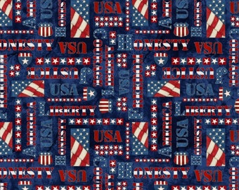 Blank Quilting - American Honor - Words - Blue - Fabric by the Yard 8339-77