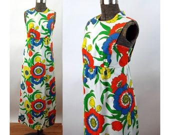 1960s maxi dress floral mod big flower pique cotton Size S/M
