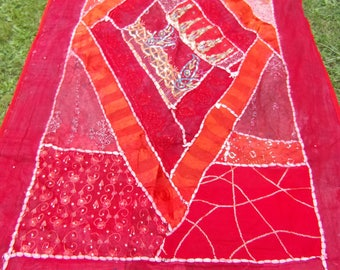 """A pretty Red hand embroidered Patchwork Wall hanging/throw. India. Sparkly. 38"""" x 67""""  97 x 171 cm."""