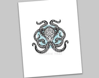 Tribal Underwater Octopus Animal Design, Polynesian Hawaiian Tattoo Art Style, Art Print, Sale