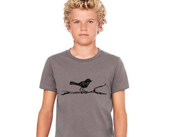 Bird Shirt For Children, Children's Animal Tshirt, Woodland Animal, Toddler Clothes Gifts for Kids Short Sleeved Cotton Crewneck Graphic Tee