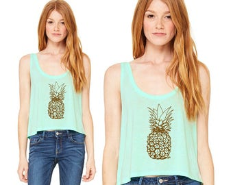 Pineapple Tank Top, Boxy Cropped Tank, Sleeveless Summer Shirt, Flowy Tee, Crop Top, Mint Green Shirt Fresh Fruit Shirt, Summer Party Tee