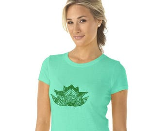 Lotus Flower Tshirt, Yoga Shirt, Gym Clothes, Meditation T Shirt, Mint Green Cotton Crewneck Short Sleeved Graphic Tee Shirt, Hand Printed