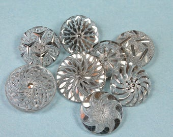 Vintage Clear Glass Buttons Silver Luster Art Deco Lacy Fancy Buttons Lot of 8