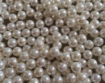 30 x 8mm grade A white round pearl semi precious beads