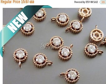 10% SALE 4 pcs rose gold unique round 4.5mm cubic zirconia charms, rose gold cz pendant 907-BRG