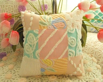 SWEETEST HANDMADE HOME Decor Vintage Chenille Patchwork Pillow