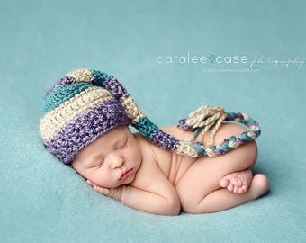 Baby Girl Elf Dark Teal, Dusty Purple, and Tan with a Braided Tail