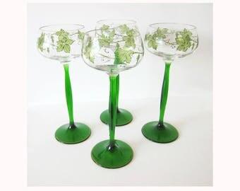 SALE 1903  set 4 Hans Christiansen Theresienthal jugendstil wine glasses