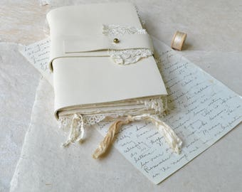 White Leather and Lace Handstitched Journal with Handmade Paper - Keepsake Book